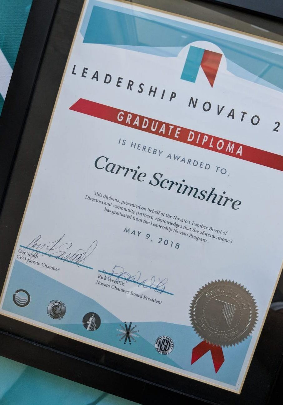 Certificate Novato CHamber leadership membership and more ribbon cutting swag stuff brand logos logo identity display